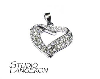 925 sterling silver large Floating Heart Pendant with crystals, Floating hearts, pendant silver, Valentine's Day, Heart Pendant - 1 piece