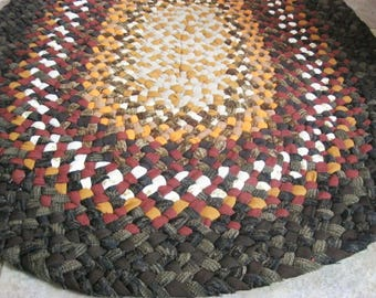 New Ready To Ship Handmade Hand Braided Recycled Sturdy Oval Rug / Rag Rug / Carpet in fall colors for your kitchen, bathroom, entryway