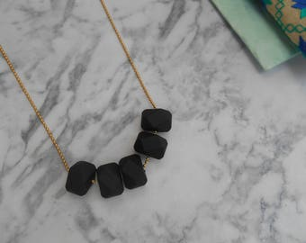 geometric beads necklace, beaded necklace, black necklace, colorful necklace, minimal necklace, beaded jewelry, gift for her
