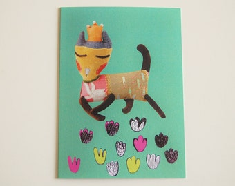 Blank Cat Card - Anytime Card - Cat Doll Photo - Cat Princess Digital Print - Green Card for Cat Lover