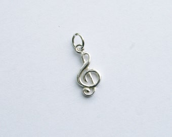 Sterling Silver Treble Clef Charm, Silver Music Note Charm, Music Note