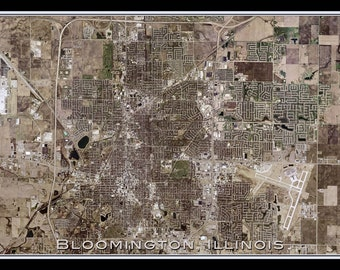Bloomington Illinois Satellite Poster Map