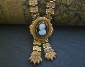 Antique Victorian Bookchain Necklace with Cameo Watch Holder