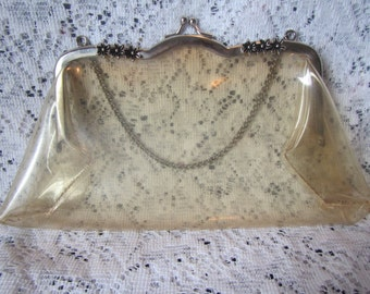 vintage  Clear Lucite Purse with Chain handles or straps * clear plastic clutch 1940s or 1950s