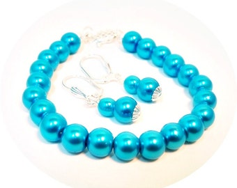 Aqua Jewelry, Bracelet Earrings Turquoise Pearls, Bridesmaid Jewelry, Aqua Jewelry Set, Bridesmaid Turquoise, Mothers Day, Aqua Pearls