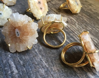 Solar Quartz Ring,NaturalSolar Quartz Ring Gold,Druzy Ring,Quartz Ring Gold,Prong Set Ring,Adjustable Ring,Gemstone Ring,Raw Stone Ring Gold