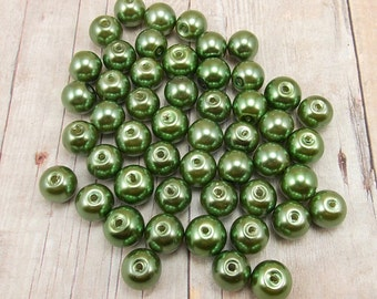 8mm Glass Pearls - Dark Olive Green - 50 pieces - Fern - Moss - Forest