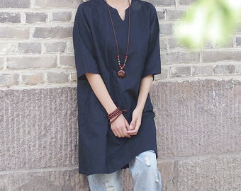 Women Linen and Cotton T-Shirt – New art V-neck loose dress style long section T-shirts