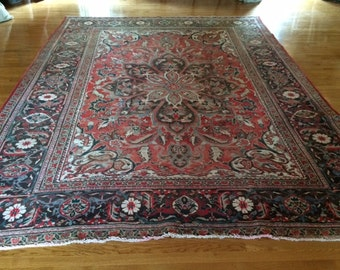 Persian rug HERIZ 9.9 x 13.2 antique washed clean hand knotted wool