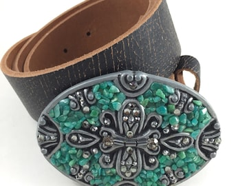Deco-Luxe Apatite, Swarovski & Hematite Art Deco Designer Belt Buckle