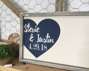 Rustic Wedding Guest Book  - Wedding Guest Book - Rustic Wood Wedding Sign - Custom Wood Guestbook - Personalized Wedding Book - Navy Theme