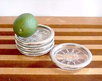 Silver Rimmed Coasters, Set of Four, Mad Men Style, Mid Century Silver and Glass Coasters