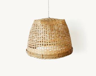 Bamboo Pendant Lamp, Woven Bamboo Pendant Light, Bamboo Basket Lampshade