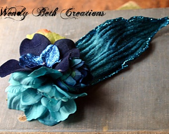 Azul Fae Hair Clip Fascinator - Belly Dance, Wedding, Bridal, Prom, Vegan, ATS, Tribal Fusion, Hair Garden, Thistle, Blue, Gardenia