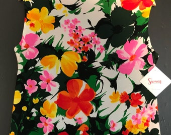 Vintage Sleeveless High Necked Multicolored Floral Print Mod Dress