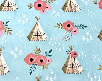 Teepees fabric, boho floral teepees fabric, mint and coral teepees, floral teepees fabric, 100% cotton for Quilting sewing projects