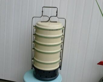 RARE Kockums enamel stacking food warmer