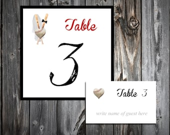 Baseball Heart 25 Table Numbers and 250 place settings.  Personalized & printed Reception guests table decorations.