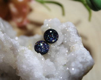 Galaxy Glitter Stud Earrings / Titanium / Hypoallergenic Earrings / Stainless Steel