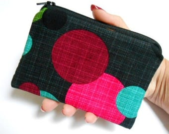Small Coin Purse Little Padded Zipper Pouch Cosmetic Bag Zippered Pouch ECO Friendly Round Magenta