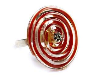 Spiral ring, red filigrana lampwork glass bead