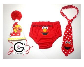 Sesame Street Elmo 1st Birthday Smash Cake Party Outfit Bow Tie Baby Toddler Boys Onesie Bottoms Hat