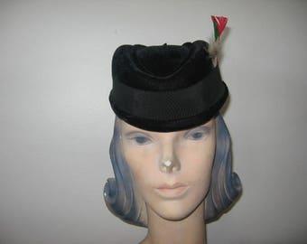 1950's-60's Black Velvet Hat, Perfect for Christmas!