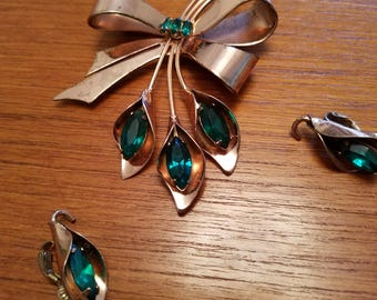 Vintage Coro Craft Brooch and Earrings