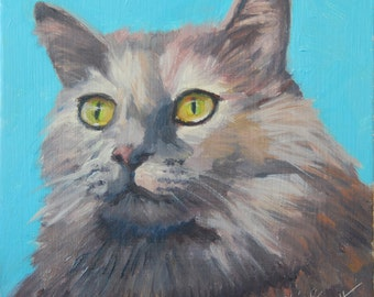 Gray Cat, 6x6 Original Oil Painting on Panel by Alice Leggett