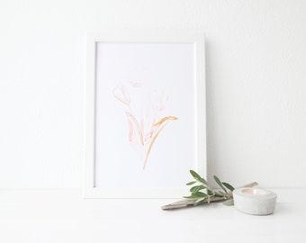 "8"" x 10"" Watercolor Art Print | ""PEACH TULIPS"""