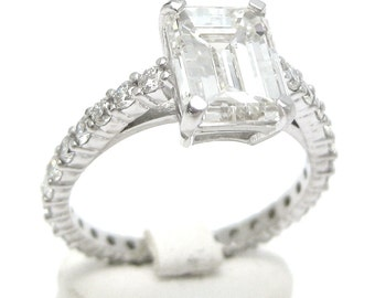 2.15ctw EMERALD cut diamond engagement ring in an ETERNITY style setting E10