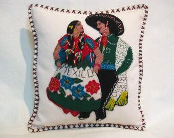 Vintage Mexican Pillow 1940's Tourist Souvenir Applique Wool Jacket Cushion  14 x 14 Inches