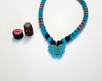 Wooden Bead Necklace | Lava Stone Necklace | Young Girl Necklace | Calming Aromatherapy Necklace | Essential Oil