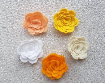 Spring Felt Flowers, felt flowers, 3D felt roses, embellishments, felt applique, die cut flowers, yellow felt roses, felt posies