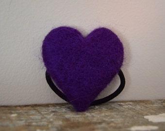 Heart Ponytail Holder Purple Needle Felted