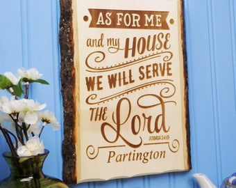 As For Me And My House - Joshua 24 15 - Scripture Wall Art Wood Personalized Bible Verse Sign Christian Decor