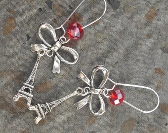 Red Eiffel Tower earrings