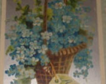 SALE Lovely Vintage Floral Postcard (Forget-me-nots)