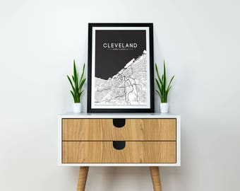 Cleveland Map Print - Black-  CLE Street Map