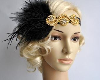 Gold Great Gatsby 20's flapper Headpiece,Vintage Inspired, Bridal 1920s Headpiece ,1930's, Rhinestone headband, Rhinestone flapper headpiece