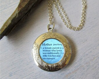 Photo Locket, Mother Of The Bride Necklace, Mom Definition Necklace, Sterling Chain