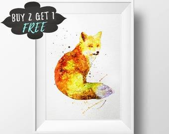 Fox Art Print, Fox Wall Art Printable, Woodland Nursery Wall Art, Fox Decor, Nursery Decor, Fox Print, Fox Illustration, Fox Nursery Art