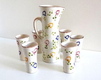 Mid Century Ceramic Juice Set / Vintage 50s Orangeade or Lemonade Pitcher and Tumblers