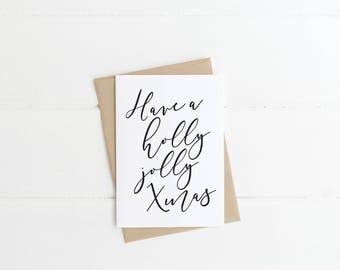 Printable Christmas Card - Have a Holly Jolly Xmas, Digital Download, Holiday Printable Card, Minimalist, Seasonal Greeting Card
