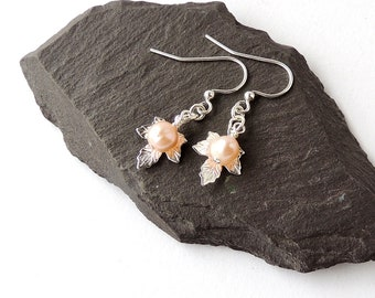 Silver Maple Leaf Charm Earrings with Champagne Freshwater Pearls, Maple Leaf Jewelry, Silver Plated, Pearl Jewellery, UK Seller