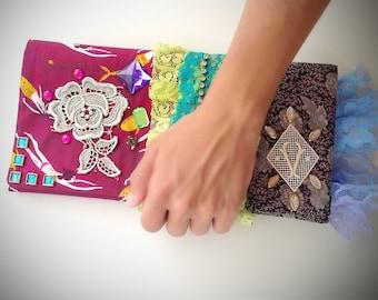Frilly lace clutch, envelope clutch bag, statement clutch
