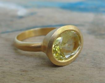 Lemon Quartz Ring , Solitaire Lemon Quartz Ring ,  Lemon Quartz Statement Ring , Lemon Quartz Jewelry , November Birthstone Ring
