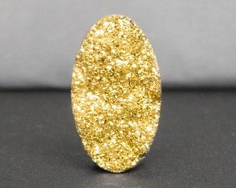 Druzy Cabochon, Gold Oval Druzy Cabochon, Viva Gold Druzy, 19 x 11mm Druzy Cabochon for Jewelry Making, Sparkling Real Gold Druzy Gem-DS0535