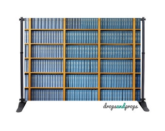 Blue Library Books - Photography Backdrop