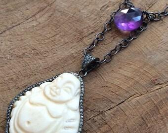 Carved Bone Buddha Necklace | Pave Diamond  | Amethyst | Oxidized Sterling Silver | Gemstone | Bohemian